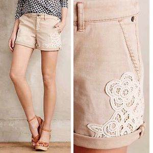 Anthropologie Pilcro Hyphen Lace Chino Shorts 27